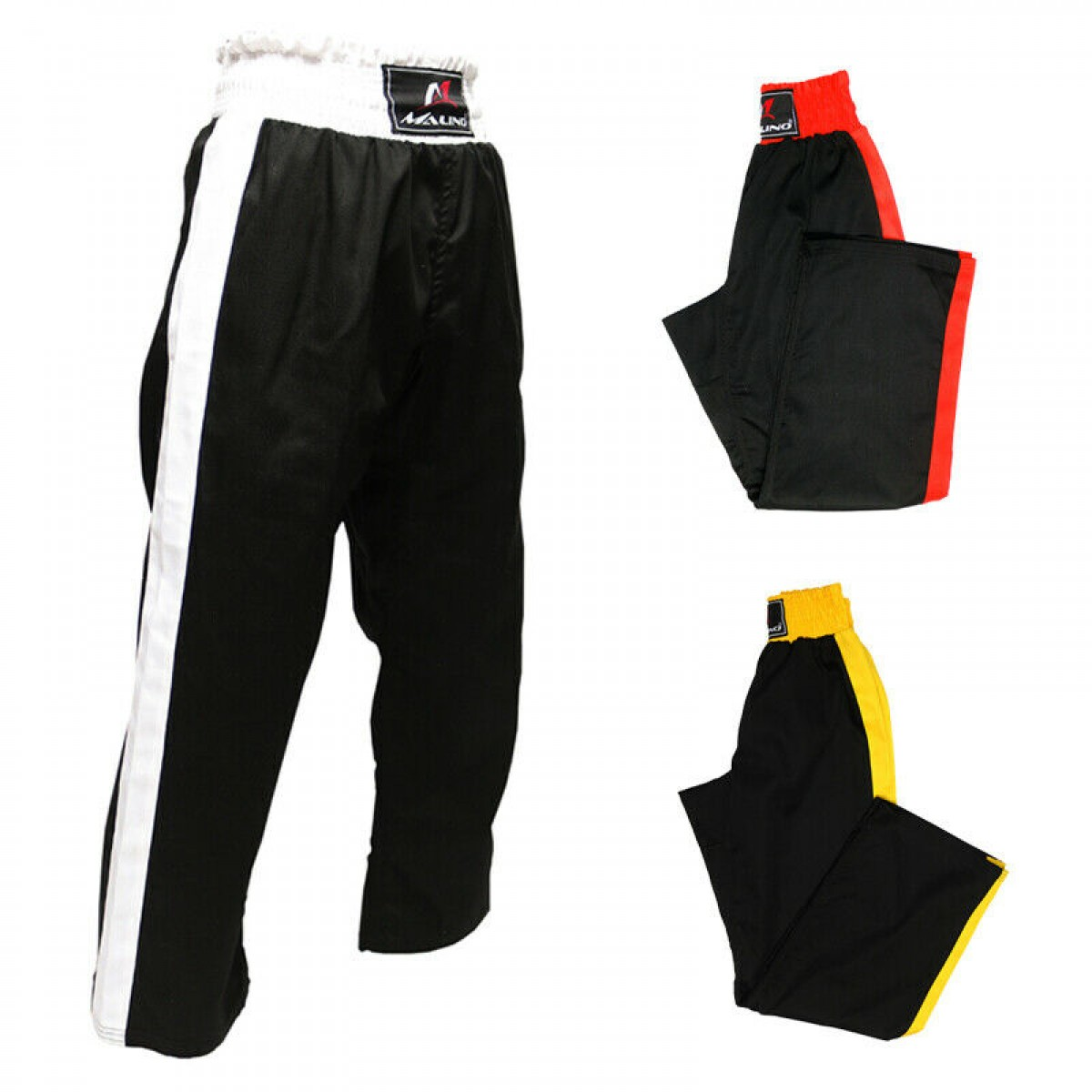 Malino Shine Kickboxing Trouser Mix Martial Arts Training Silk Satin Trouser Black Red