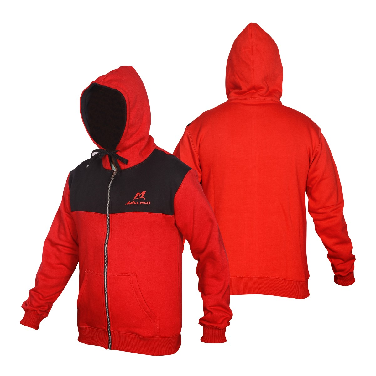 Malino Athletic Zip Up Hoodie Red Black