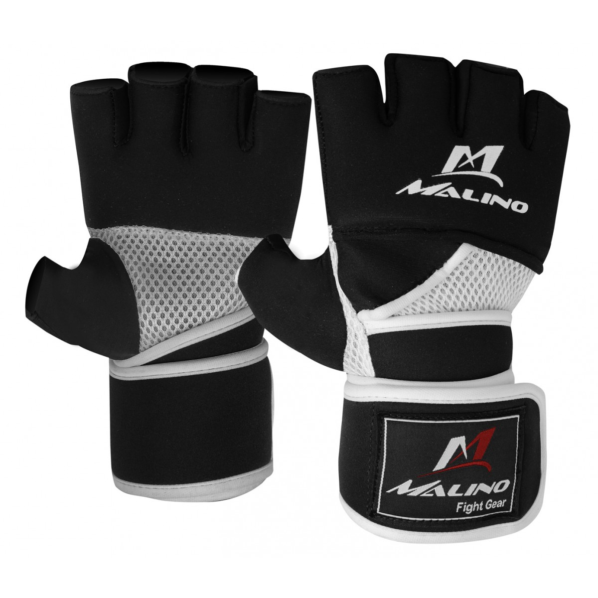 MMA Gloves Half Fingers Mix Martial Arts Gloves Black-White