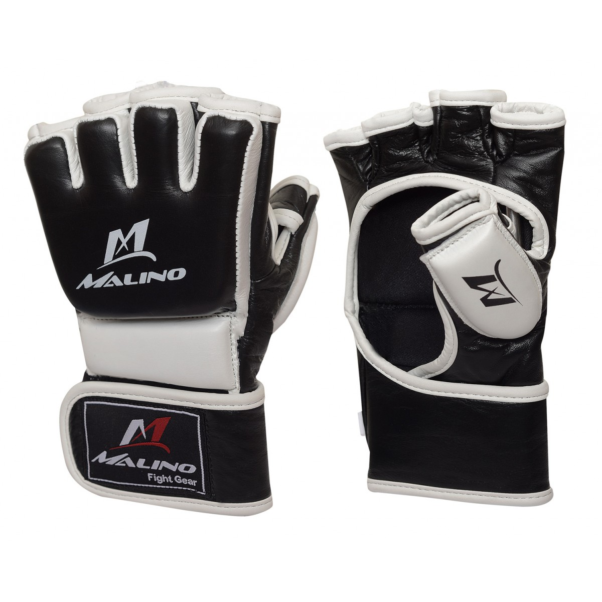 MMA Gloves Half Fingers Mix Martial Arts Gloves Black-White New