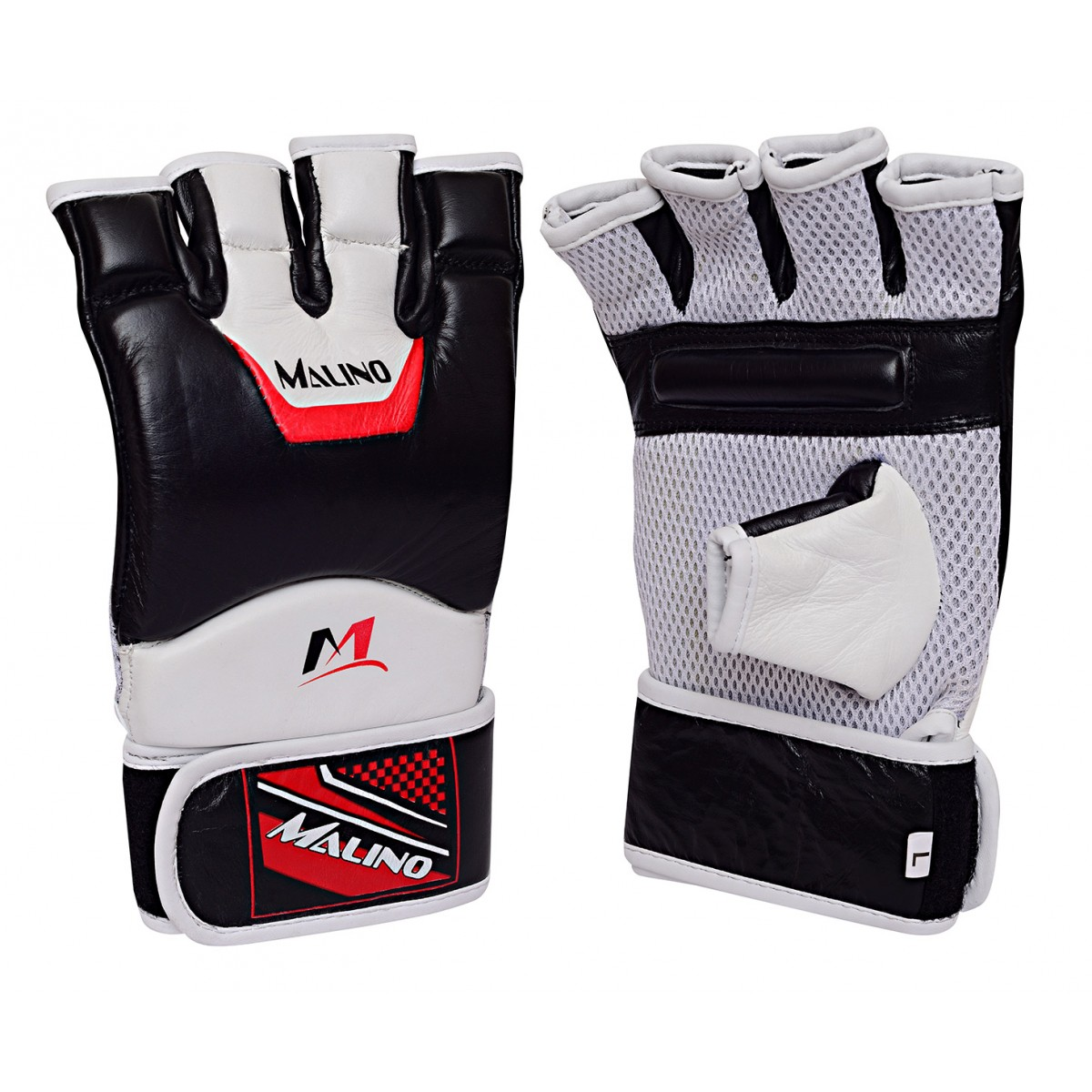 MMA Gloves Half Fingers Mix Martial Arts Gloves White-Black