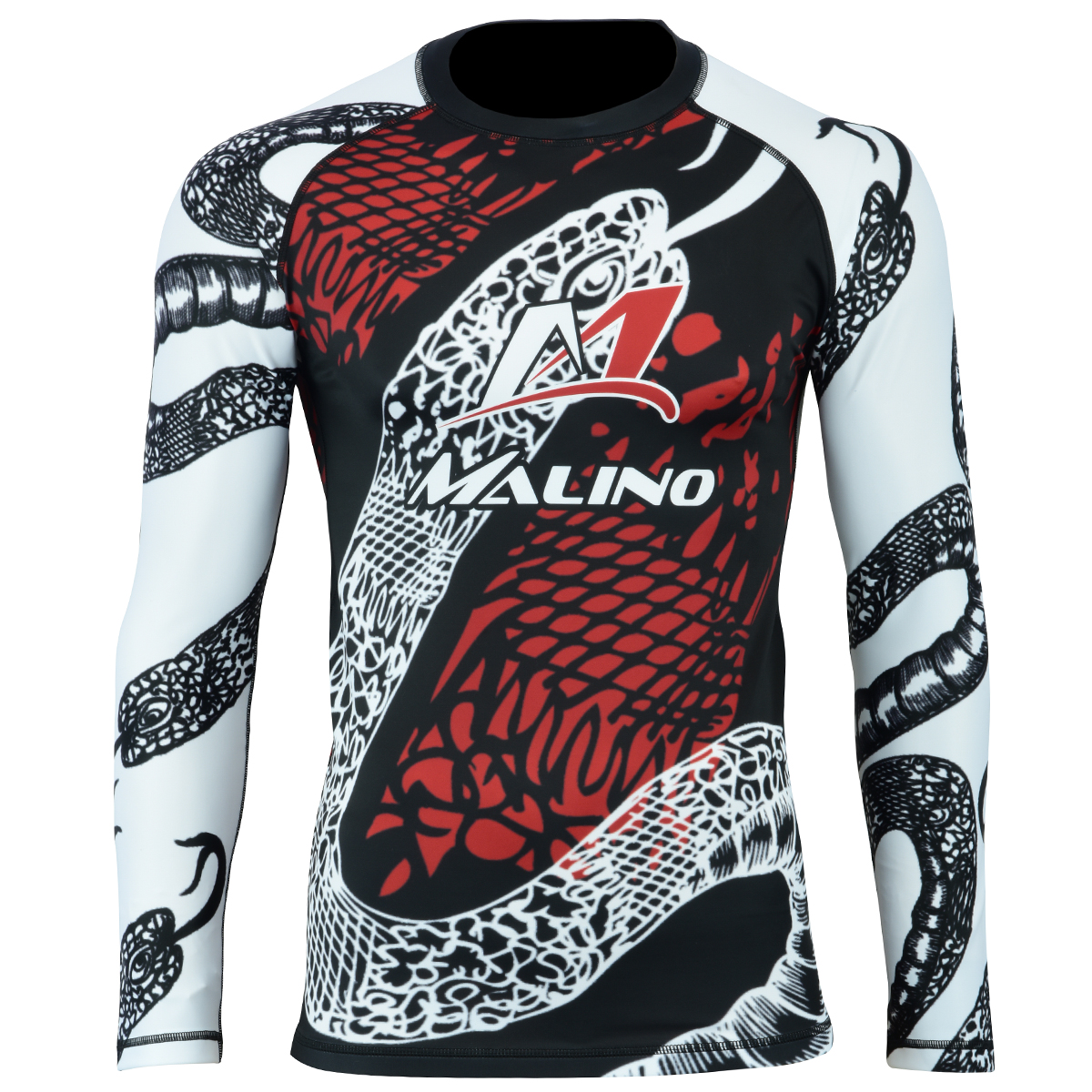 Rash Guard Shirt Unisex Black-White-Red