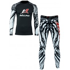 Rash Guard Suit for Men White-Black