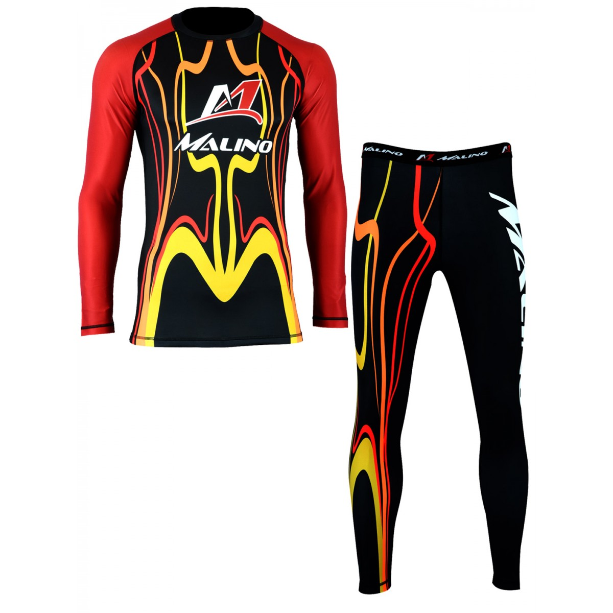 Rash Guard Suit for Men Red-Yellow-Black