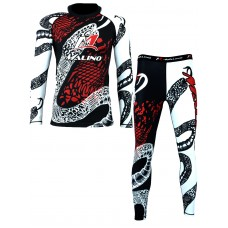Rash Guard Suit for Men Black-White-Red