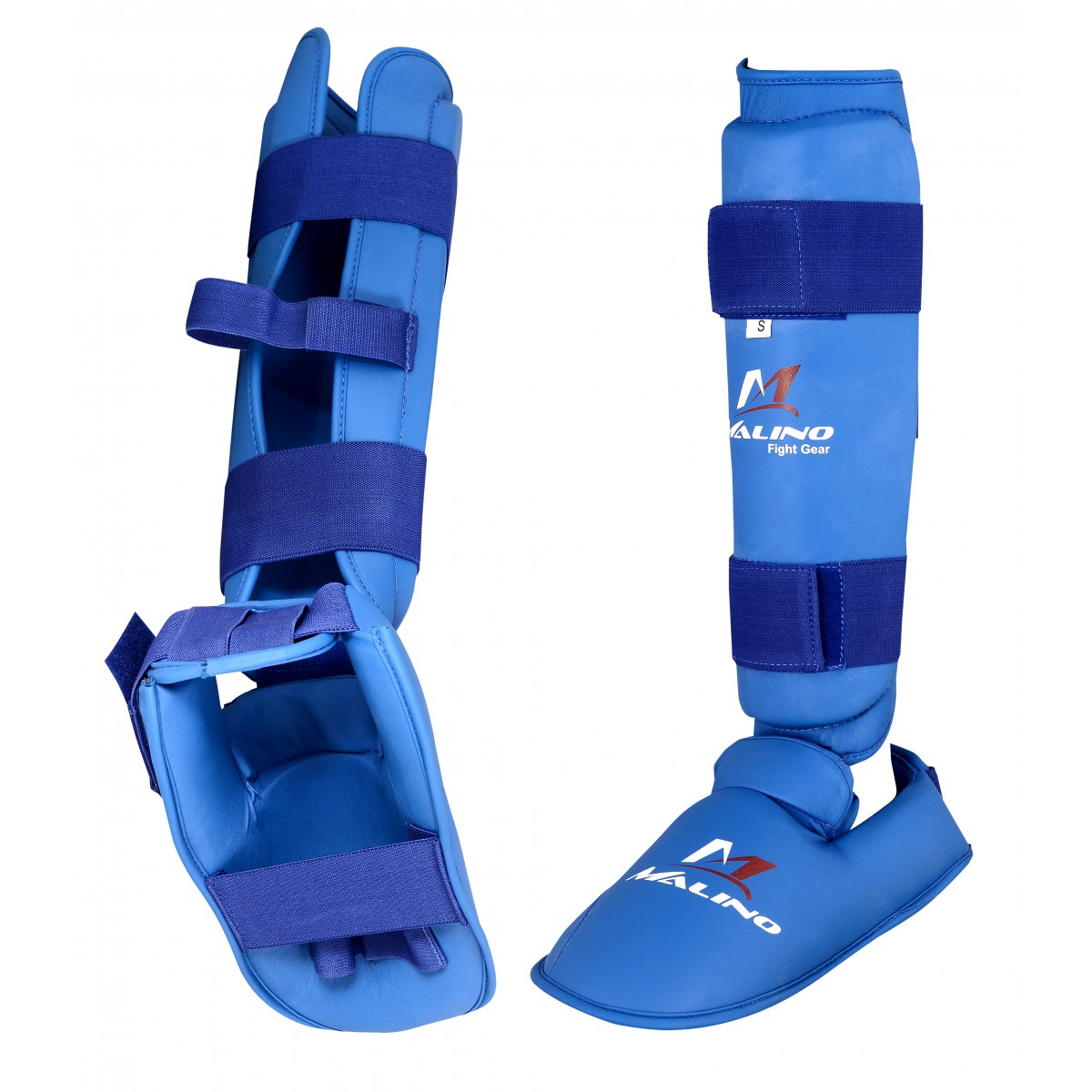 Malino Blue PU Shin Pads with Removable Instep Foot