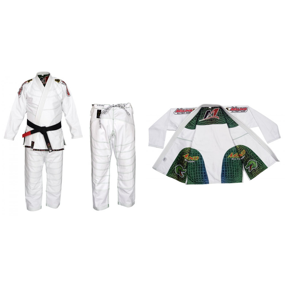 Malino BJJ Gi Crocodile White Pearl Weave Cotton 450Gsm