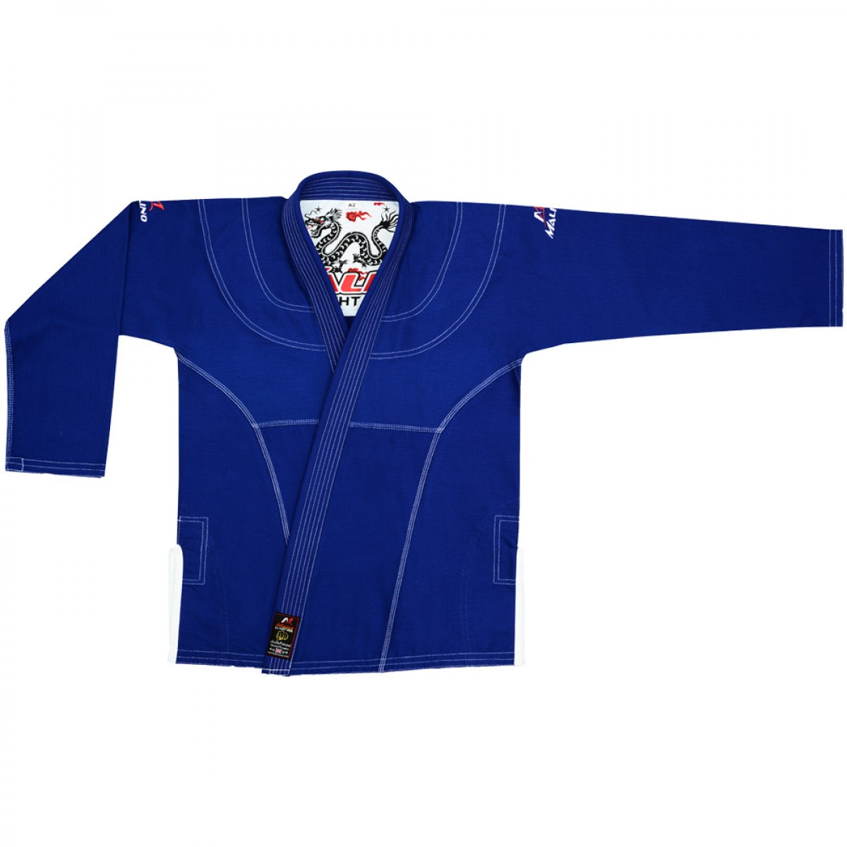 Malino BJJ Gi Bull Dragon Blue Pearl Weave Cotton 350Gsm