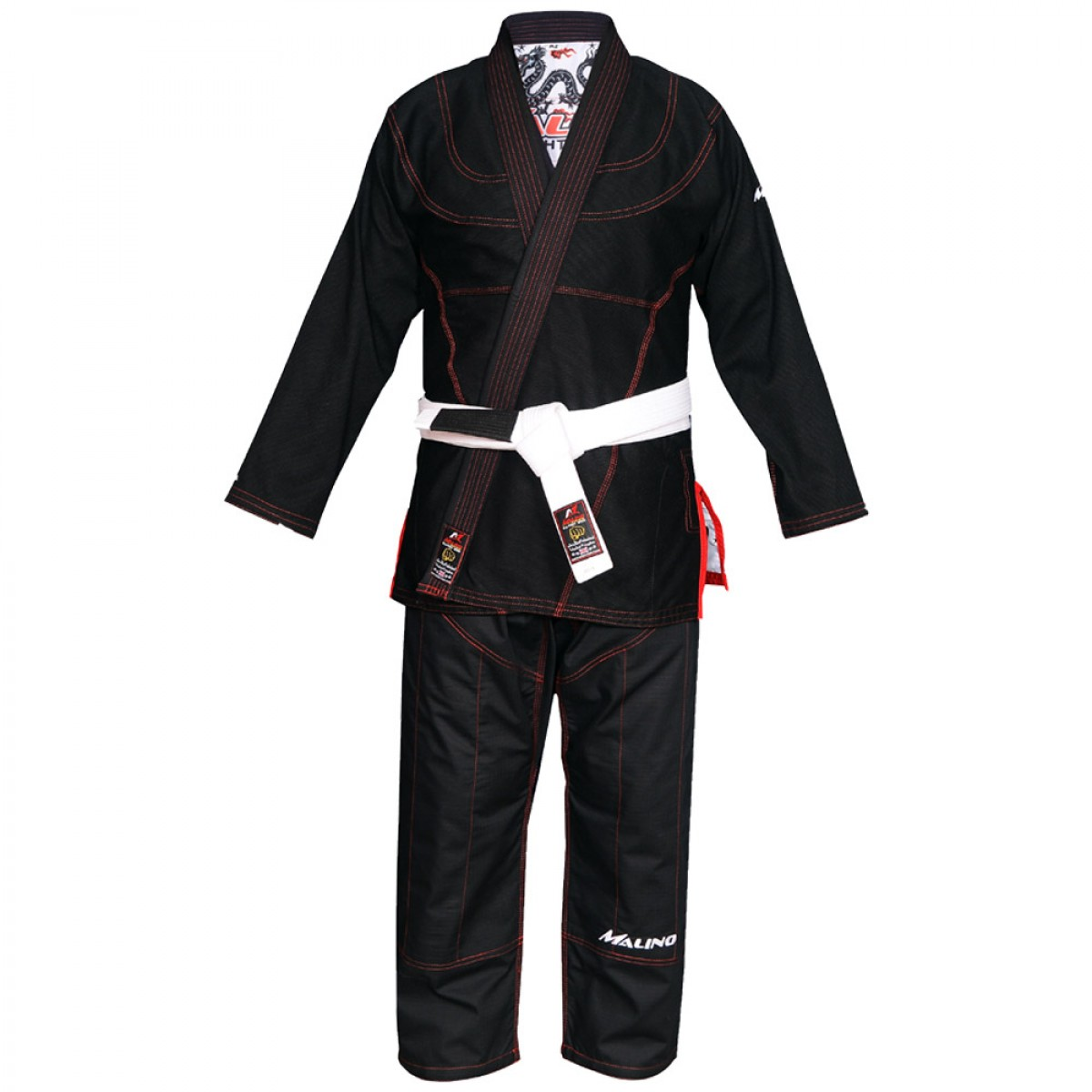 Malino BJJ Gi Bull Dragon Black Pearl Weave Cotton 350Gsm