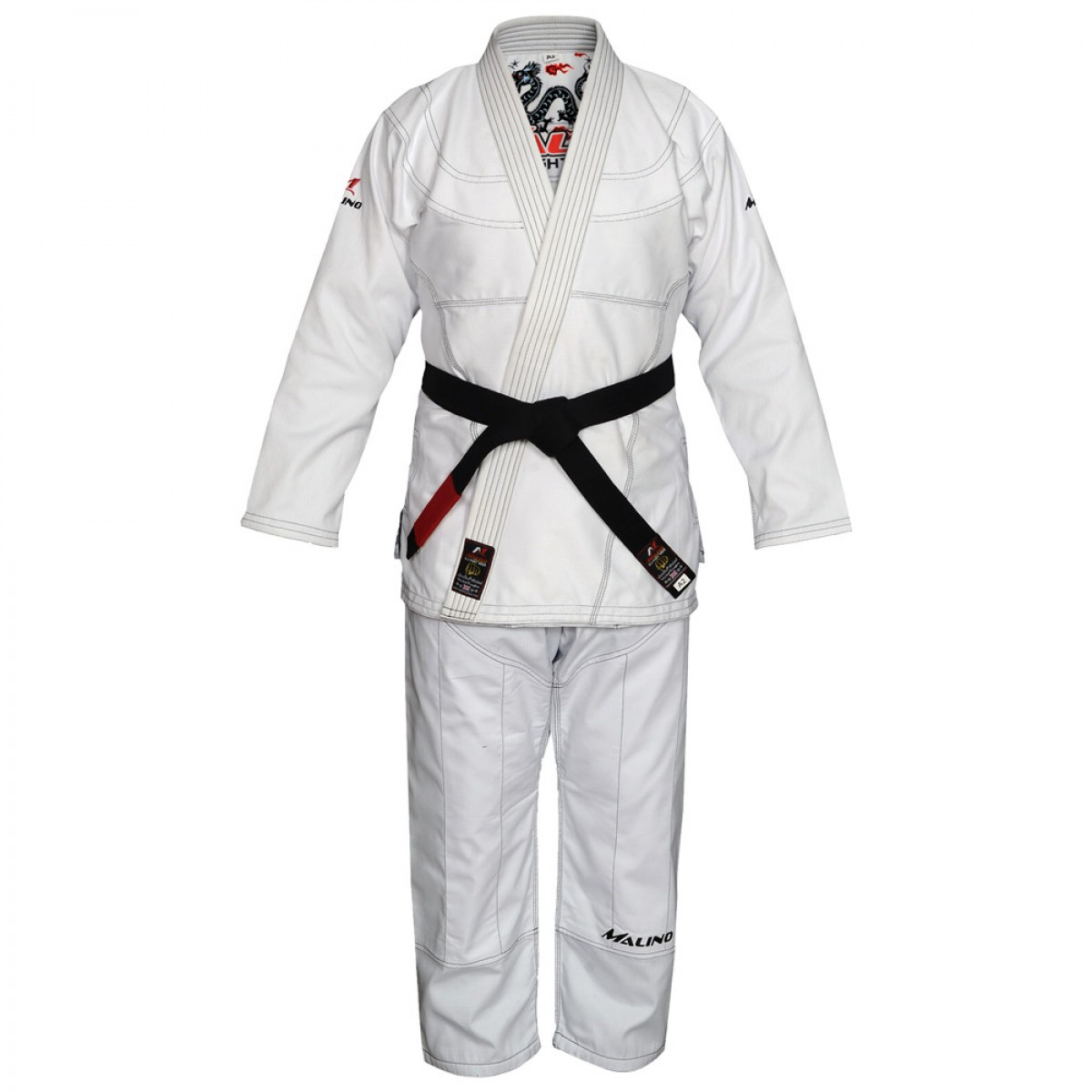 Malino BJJ Gi Bull Dragon White Pearl Weave Cotton 350Gsm