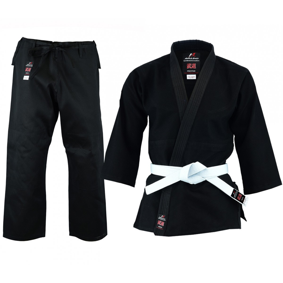 Malino 450g Adult Middleweight 100% Cotton Black Judo Suit