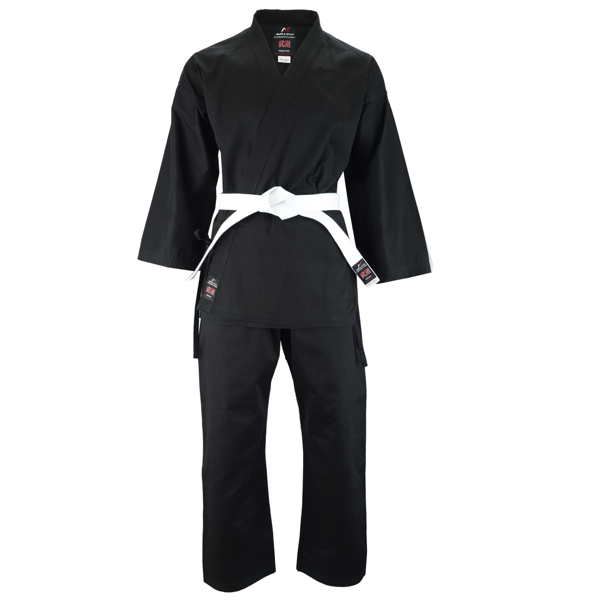Malino Kids Karate Suit Middleweight Cotton Reactive Black - 8oz