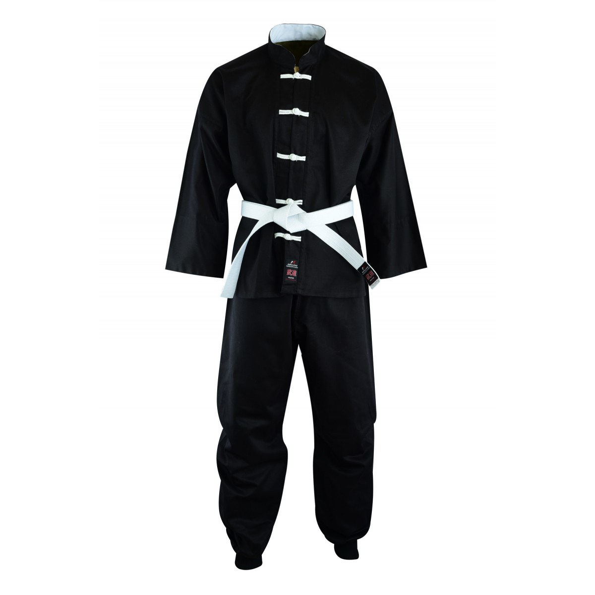 Malino Adult Kung Fu Suit Cotton Black/White - 8oz