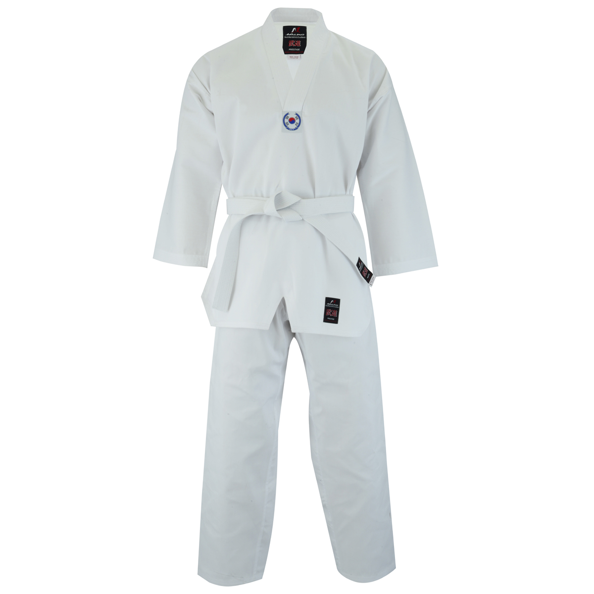 Malino Adult V-Neck Taekwondo Suit White- 7oz