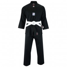 Malino Adult V-Neck Taekwondo Suit Black- 7oz