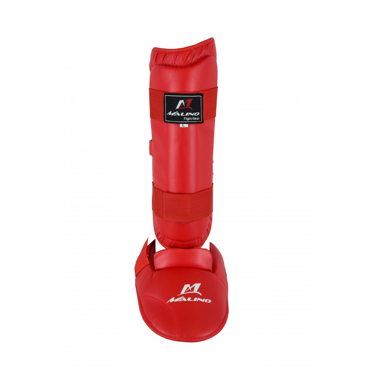 Malino Red PU Shin Pads with Removable Instep Foot