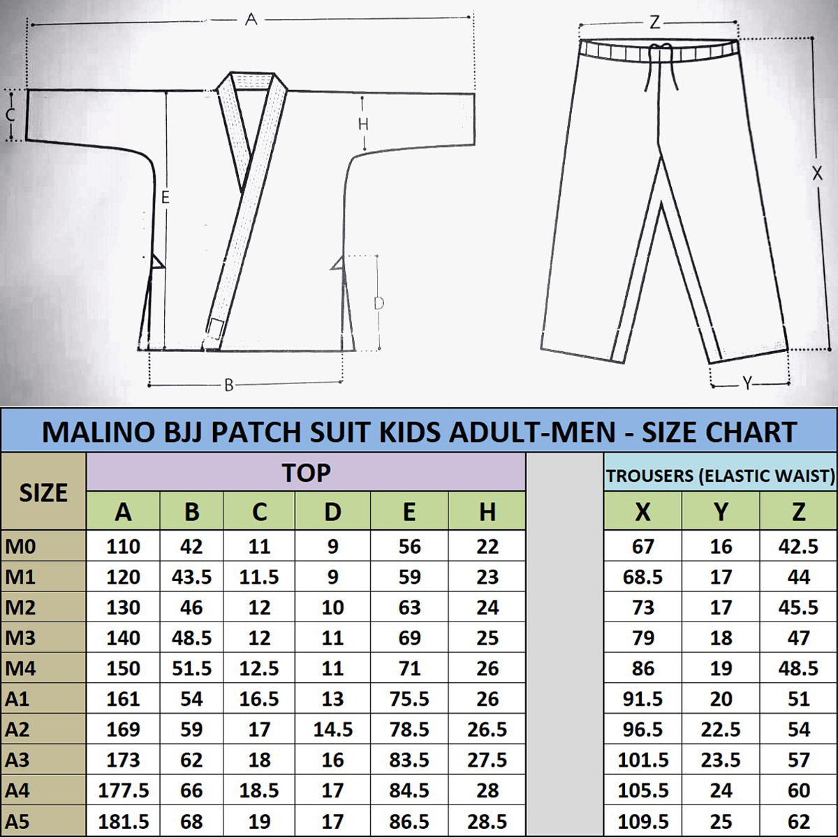 Malino BJJ Gi Patch Size Chart Brazilian Jiu Jitsu Suit Adult Men