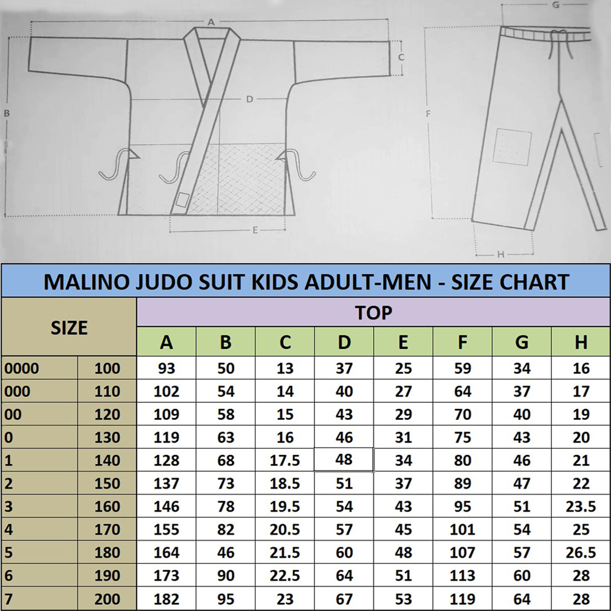 Malino Judo Gi Suit Size Chart 350G 450G Kids Adult Men
